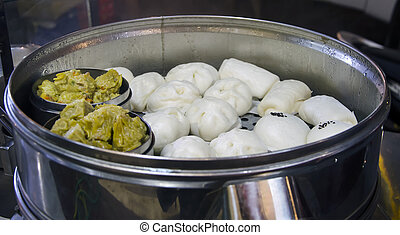 chinese food salapao in a steel oven