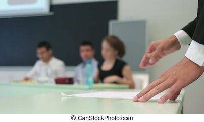 College Team Debates - Leveled view at young student making...