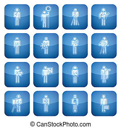 Cobalt Square 2D Icons Set: Occupation - Man\'s occupation...
