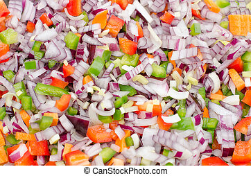 Chopped vegetables background.