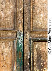 Double door - Detail of double door, center Naples,Italy