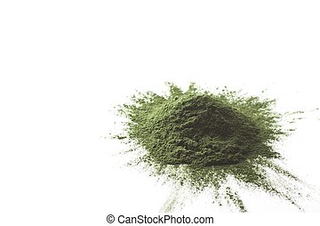 Spirulina raw powder on white background %u2013 heap.