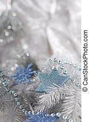 Christmas decoration in silver and blue tones