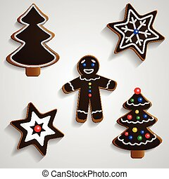 Chocolate ginger bread man tree and stars set - Chocolate...