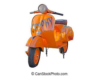 Vintage Orange Vespa isolate on white background