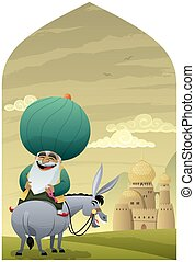 Nasreddin Hodja 2 - Cartoon of Nasreddin Hodja on his donkey...