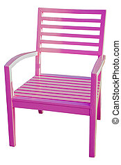 pink Wooden chair isolated over white, with clipping path