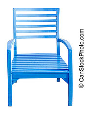 blue Wooden chair isolated over white, with clipping path