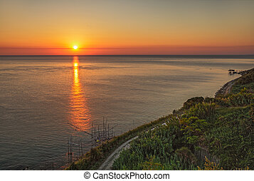 coast of the Adriatic sea in Chieti, Abruzzo, Italy - old...