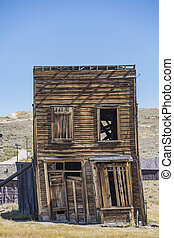 Leaning Building in California Ghost Town - Leaning two...