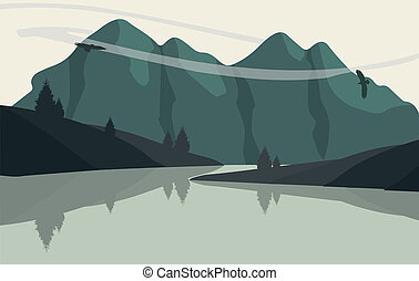 Flat landscape view - Beautiful minimalistic mountain view...