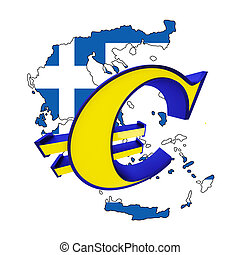 Map of Greece with euro sign isolated on a white background