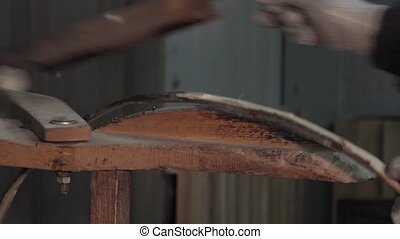 manufacturing wine barrels - making a strapping hazel and...