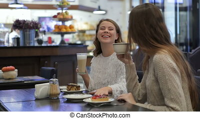 Girls having fun talking in coffee shop - Two girls having...