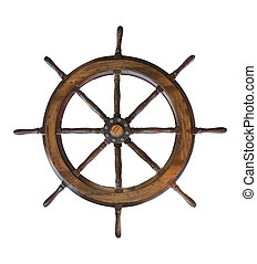 Vintage wooden ship steering wheel rudder isolated on a...