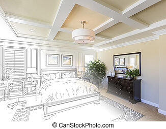 Custom Bedroom Drawing Gradation Into Photograph. -...