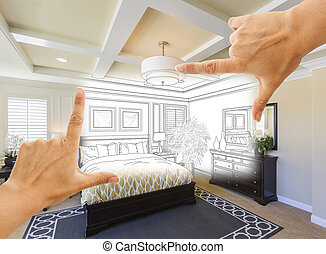 Hands Framing Custom Bedroom Drawing Photograph Combination...