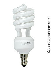 Compact spiral-shaped fluorescent lamp isolated on the white...