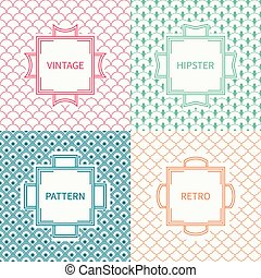 Set of mono line geometric national japanese seamless pattern. Vintage frames in red, green, blue, gold. Wrapping paper. Vector oriental background. Texture for cards, invitations. Labels, badges.