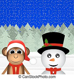 snowman and a monkey in the forest for Christmas