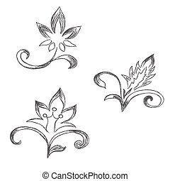flowers - Sketch, flowers, decor, ornament, vector,...