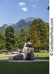 Sculpture at the entrance to the lake Koenigssee, Germany,...