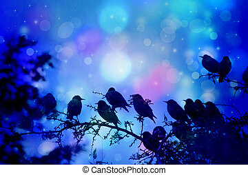 Dreamy winter scene with starling birds sittin on the tree branches in the garden
