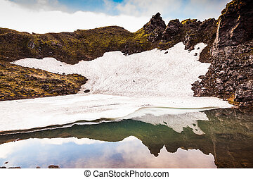 Unmelted in July snowfield reflected in water - Big unmelted...