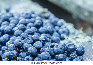 a handful of blueberries scattered on the old board and covered with water droplets