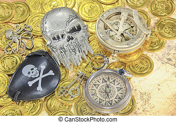 pirate skull eye patch compass - a steel pirate skull eye...