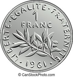 vector French money coin one franc obverse - Obverse French...