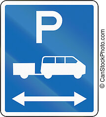 New Zealand road sign - Parking zone for shuttles with no time limit, on both sides of this sign