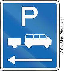 New Zealand road sign - Parking zone for shuttles with no time limit, on the left of this sign