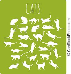 Cats In Various Poses - Set of 26 different cat silhouettes...