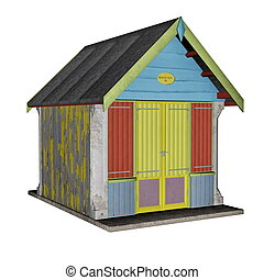 Beach hut - 3D render - Beach hut isolated in white...