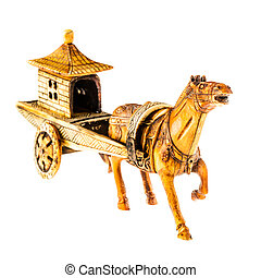 Chinese chariot - an ancient chinese war chariot isolated...