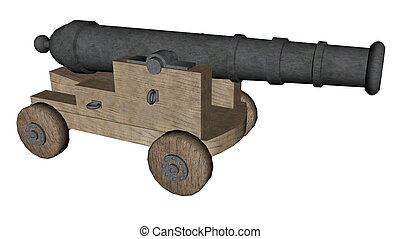 Cannon - 3D render - Cannon isolated in white background -...