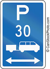 New Zealand road sign - Parking zone for shuttles with time limit, on both sides of this sign