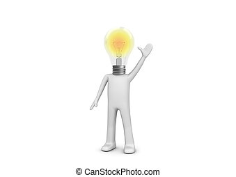 I have an idea - lampy man - 3d isolated characters on white...