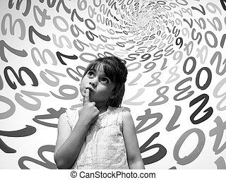 Little girl do not know how to solve an arithmetic problem -...