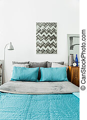 Matrimonial bed with blue bedding - Picture of matrimonial...