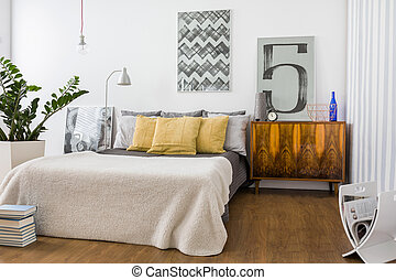 Stylish cozy bedroom - Picture of stylish cozy bedroom with...