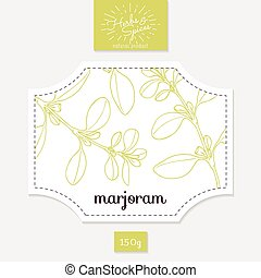 Product sticker with hand drawn marjoram leaves. Spicy herbs...