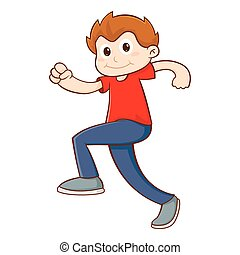 Young Boy Walking With Confident, Vector Illustration
