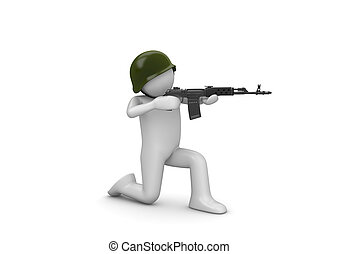 Kneeling Soldier Aiming - 3d isolated characters on white...