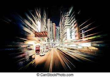 modernos, cidade, movimento, blur., Hong, Kong., abstratos,...
