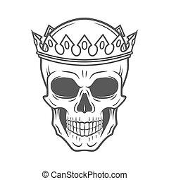 Skull King Crown design element. Vintage Royal t-shirt illustration. Dark skeleton insignia concept.