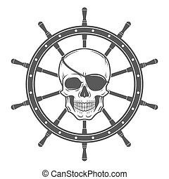 Jolly Roger with eyepatch logo template. Evil skull vector....