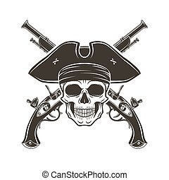 Jolly Roger skull in cocked hat vector. Evil captain logo template. death t-shirt design. Pistol insignia concept.