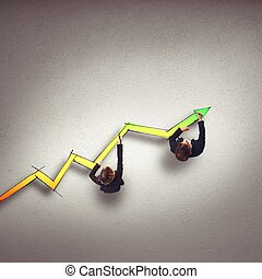 Draw arrow growing - Business people draw a big statistic...